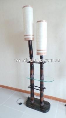 Торшер бамбук со стеклянной полкой круглый