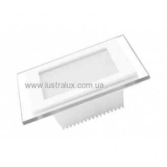 EUROLAMP LED Світильник квадратний скло Downlight 6W 4000K (30) LED-DLS-6/4(скло)
