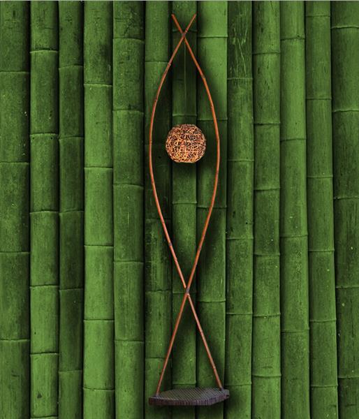 Торшер бамбук Тюльпан ротанг