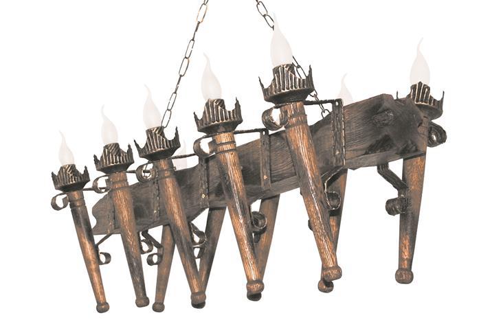 Люстра деревянная Балка факел стандарт 10