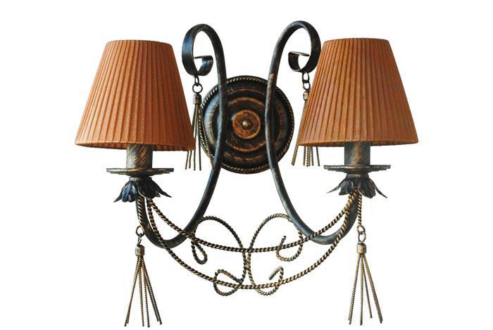 Бра ковка Кисточки с абажуром 2 лампы