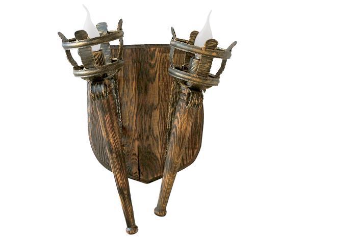 Бра деревянное Факела Римские 2 лампы